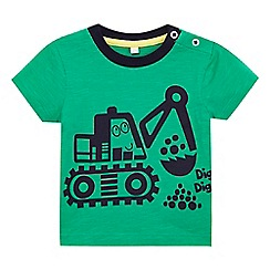bluezoo - Baby boys' green digger print t-shirt