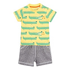 bluezoo - Baby boys' yellow crocodile t-shirt and shorts set