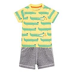 bluezoo - Baby boys' yellow crocodile t-shirt and shorts set