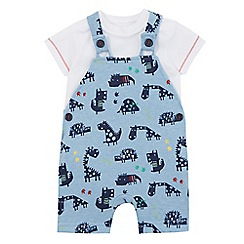bluezoo - Baby boys' blue dinosaur print dungarees and t-shirt