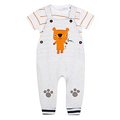 bluezoo - Baby boys' grey tiger applique top and dungarees set