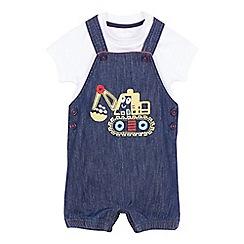 bluezoo - Baby boys' blue denim applique dungarees and white bodysuit set
