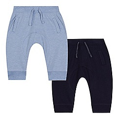 bluezoo - Baby boys' pack of two navy jogging bottoms