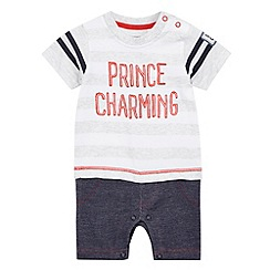 bluezoo - Baby boys' grey 'Prince Charming' slogan print romper suit