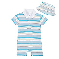 bluezoo - Baby boys' assorted striped print polo romper suit with sunhat