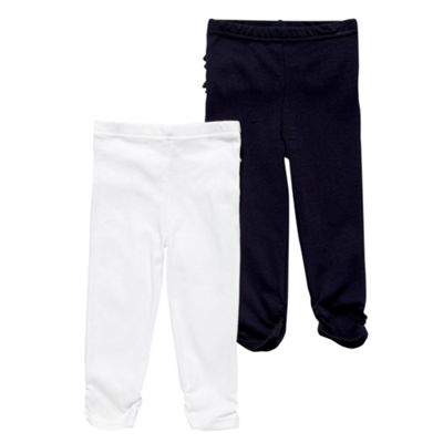 Babys Pack Of Two White And Navy Leggings