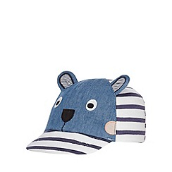 bluezoo - Boys' navy striped monkey applique cap