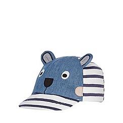 bluezoo - Boys' navy striped monkey applique cap