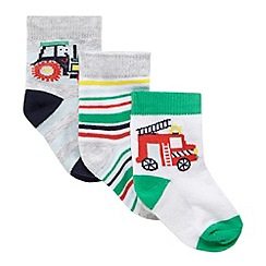 bluezoo - Pack of 3 baby boys' assorted patterned socks