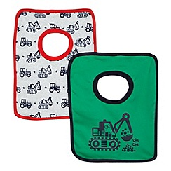 bluezoo - Pack of two green and green tractor and digger print bibs