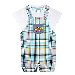 bluezoo - Baby boys' green checked dungarees
