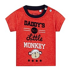 bluezoo - Baby boys' red 'Daddy's little monkey' applique t-shirt