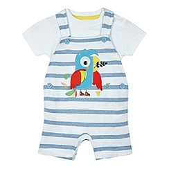 bluezoo - Baby boys' blue striped print parrot applique dungaree and white bodysuit set