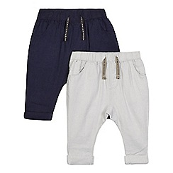 bluezoo - Pack of two baby boys' navy and grey linen blend trousers