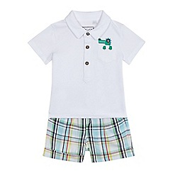 bluezoo - Baby boys' white polo shirt and multi-coloured checked print shorts set