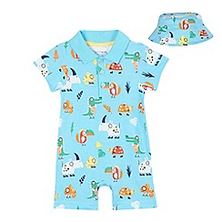 bluezoo - Baby boys' blue animal tribe print romper suit with sunhat