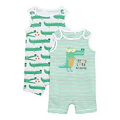 bluezoo - Pack of two baby boys' green alligator print romper suits