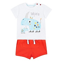 bluezoo - Baby boys' white and red rhino printed shorts and t-shirt