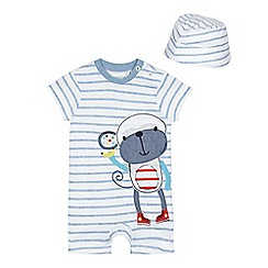 bluezoo - Baby boys' white and blue striped monkey applique romper suit and hat set