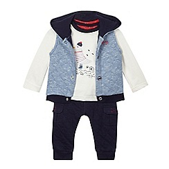 J by Jasper Conran - Baby boys' navy quilted gilet, t-shirt and jogging bottoms set