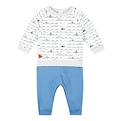 J by Jasper Conran - Baby boys' white boat print sweat top and blue jogging bottoms set