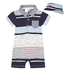 J by Jasper Conran - Baby boys' striped romper suit and hat