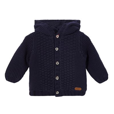 J by Jasper Conran Baby boys navy chunky cable knit hooded
