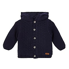 J by Jasper Conran - Baby boys' navy chunky cable knit hooded cardigan