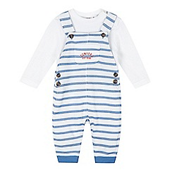 J by Jasper Conran - Baby boys' white textured dungaree and bodysuit set