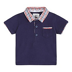 J by Jasper Conran - Baby boys' navy gingham print collar polo shirt