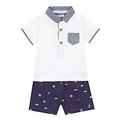 J by Jasper Conran - Baby boys' white nautical print polo shirt and jogging bottoms set