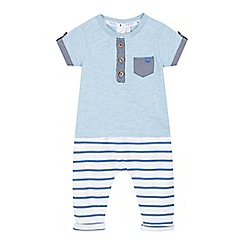 J by Jasper Conran - Baby boys' light blue striped print polo shirt and jogging bottoms set
