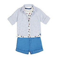 J by Jasper Conran - Baby boys' blue checked shirt, boat print top and shorts set