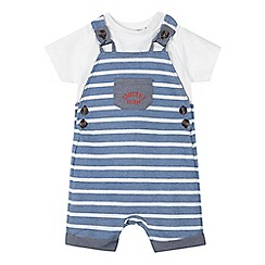 J by Jasper Conran - Baby boys' blue striped dungarees and white t-shirt set