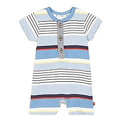 J by Jasper Conran - Baby boys' blue striped print romper suit and hat set