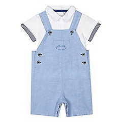 J by Jasper Conran - Baby boys' pale blue dungarees and white polo shirt set