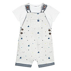J by Jasper Conran - Baby boys' grey whale print dungarees
