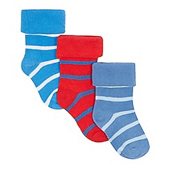 J by Jasper Conran - Pack of three baby boys' blue and red striped socks