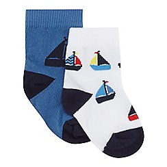 J by Jasper Conran - Baby boys' pack of two blue boat print socks