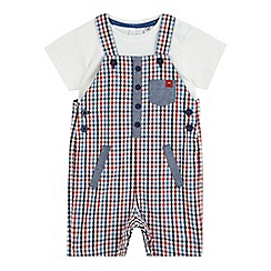 J by Jasper Conran - Baby boys' red gingham print dungarees and cream t-shirt set