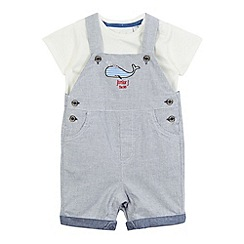 J by Jasper Conran - Baby boys' blue whale applique dungarees and t-shirt set