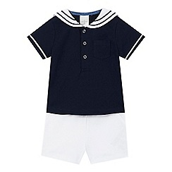 J by Jasper Conran - Baby boys' navy sailor top and white shorts set