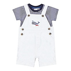 J by Jasper Conran - Baby boys' white whale applique dungarees set