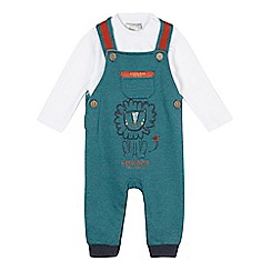 RJR.John Rocha - Baby boys' green striped dungarees and white bodysuit set