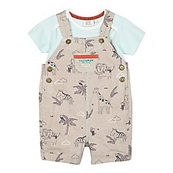 RJR.John Rocha - Baby boys' beige linen dungarees and t-shirt set