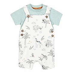 RJR.John Rocha - Baby boys' cream animal print dungarees and green t-shirt set