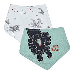 RJR.John Rocha - Pack of two green lion applique and white animal print bibs