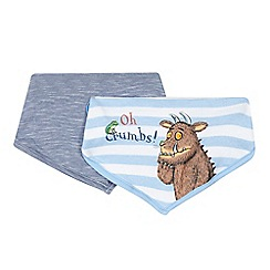 The Gruffalo - Pack of two baby boys' blue striped 'Gruffalo' print bibs