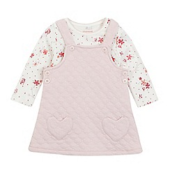 bluezoo - Baby girls' pink floral quilted pinafore and top set