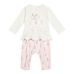 bluezoo - Baby girls' cream and pink bunny top and leggings set